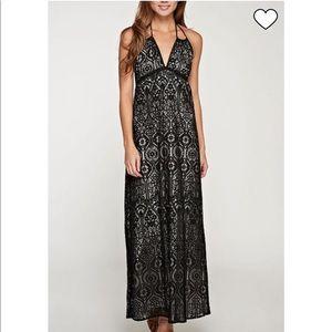 LoveStitch Black Overlay Lace Maxi Dress.